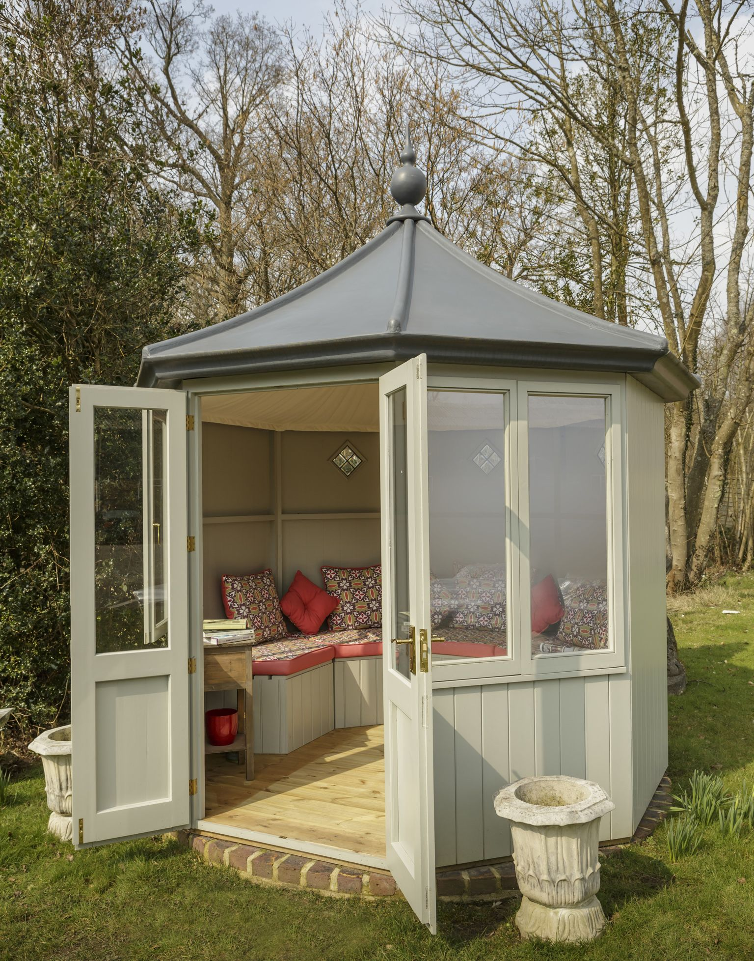 Octagonal summerhouse by garden affairs painted for Garden designs with summer houses