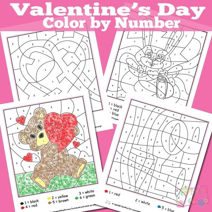 Valentines Day Color By Numbers Worksheets