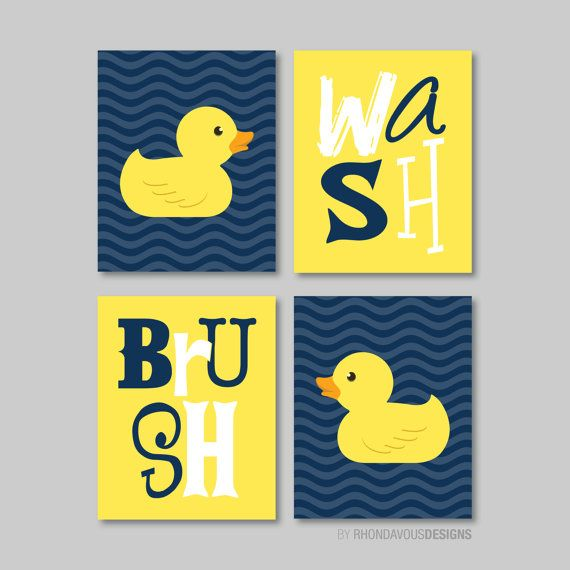 Kids Bathroom Art Decor Rubber Duckie Duck Bath Navy Blue Yellow You Pick The Size