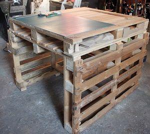 table de travail en palette pour atelier instructions de. Black Bedroom Furniture Sets. Home Design Ideas