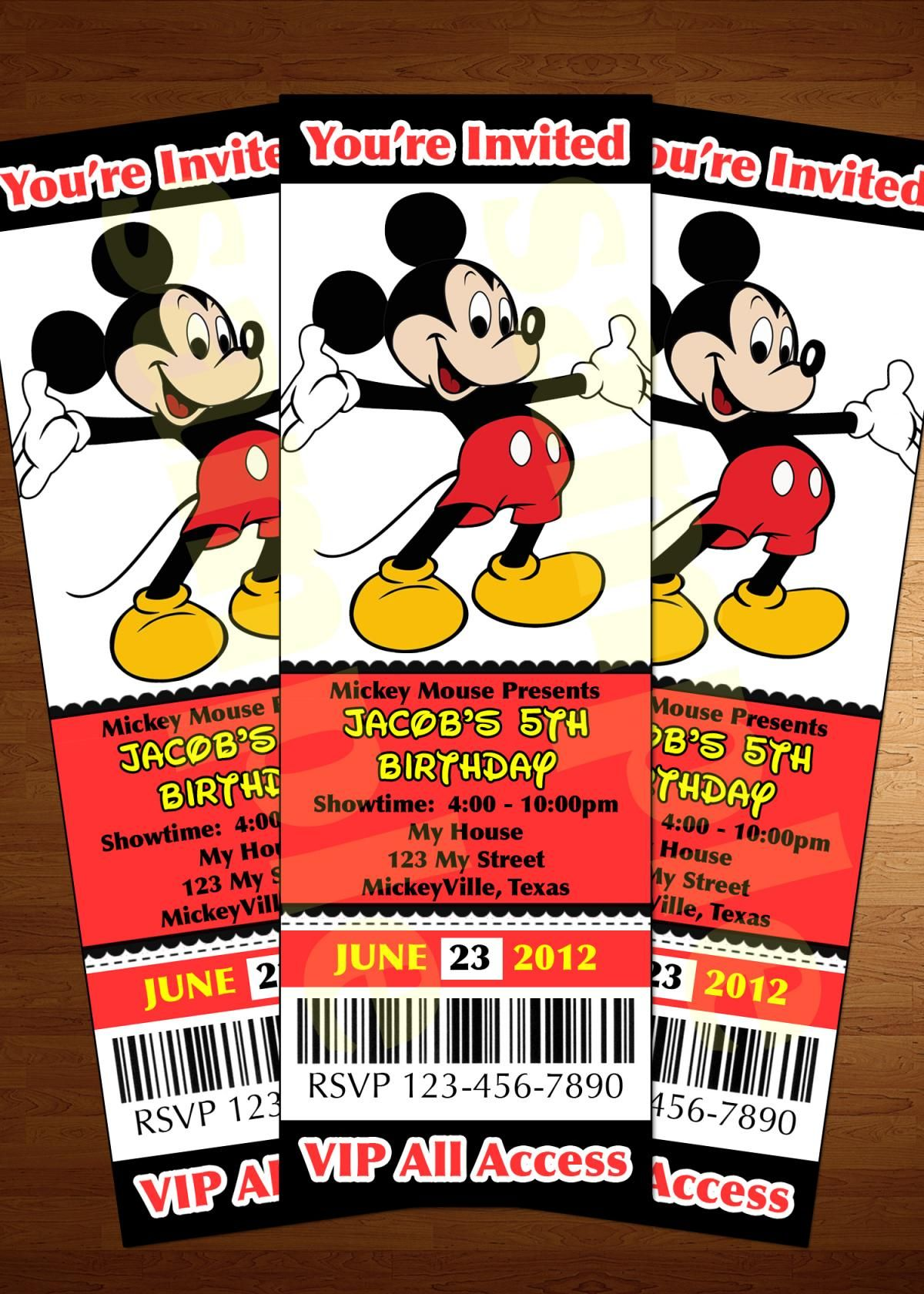 Mickey Mouse ticket invitation printable diy invite RED | Party ...