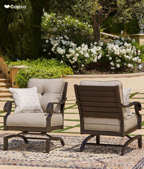 Sit Back And Relax In The Plush Cushioned Rocking Chairs By Sunvilla Outdoor Patio Furniture Outdoor Furniture Outdoor Furniture Sets