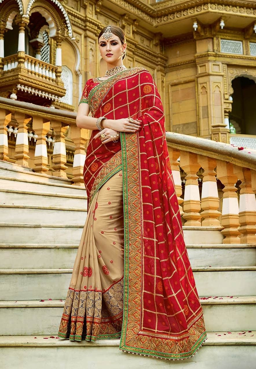 0c9a57e168 Latest Indian Designer Red & Beige heavy work bridal Saree | wedding ...