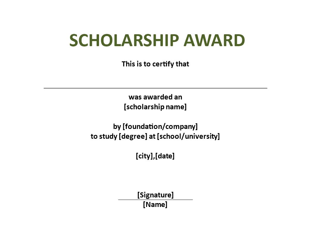 Scholarship Award Certificate Template  Download This Scholarship
