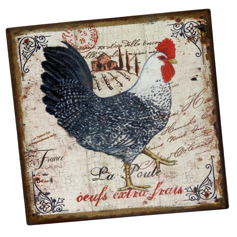 tableau carr peint sur toile la poule oeufs extra frais d cors style carte postale coq ferme. Black Bedroom Furniture Sets. Home Design Ideas