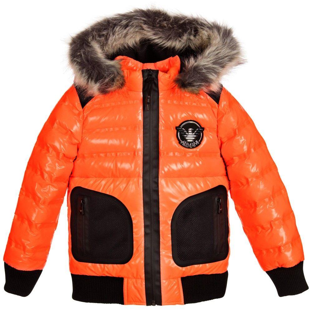 5c8c88ce3ebf Armani Junior - Boys Orange Neon Down Padded Coat