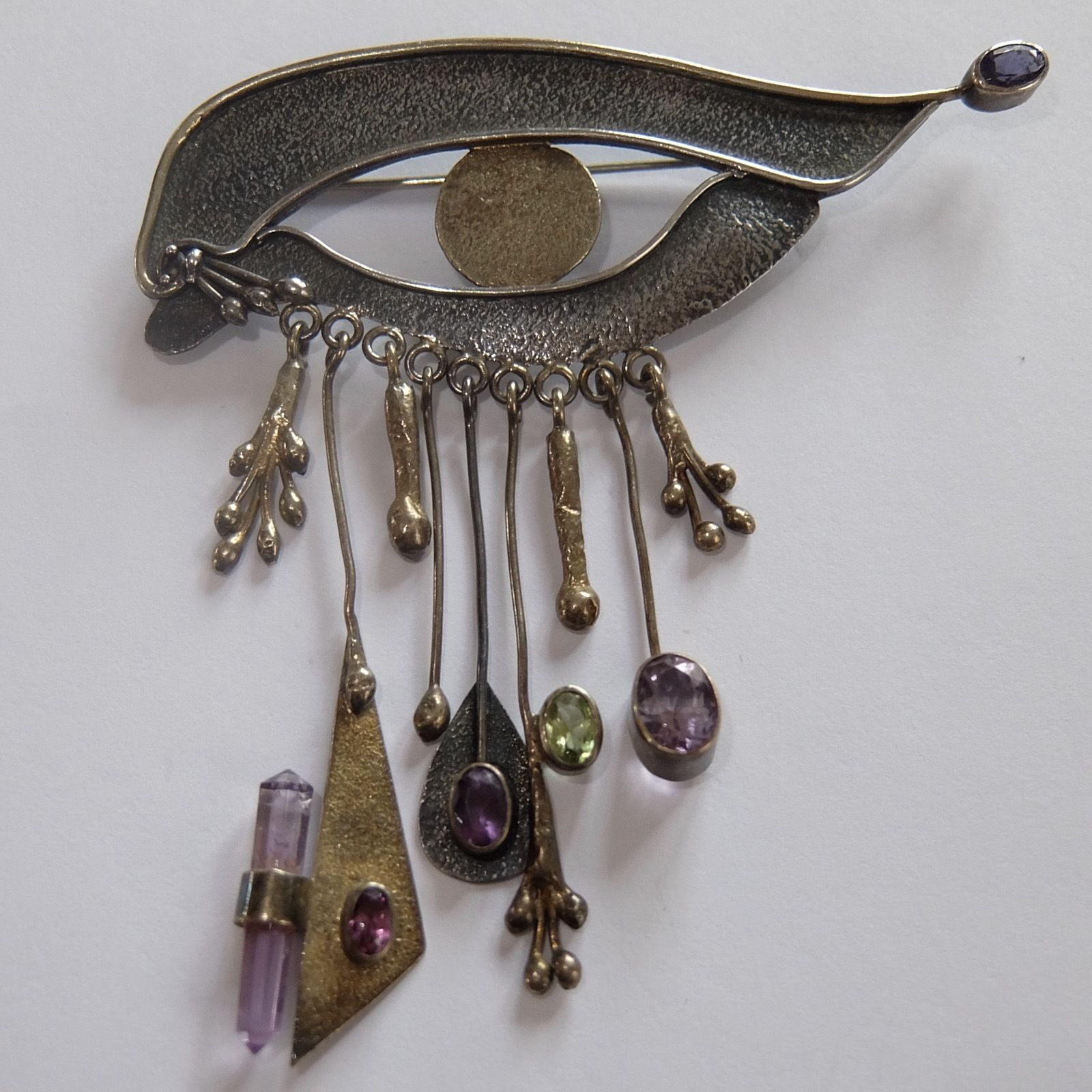 made eye silver ebay vintage artist sterling amethyst brooch surrealist pin studio