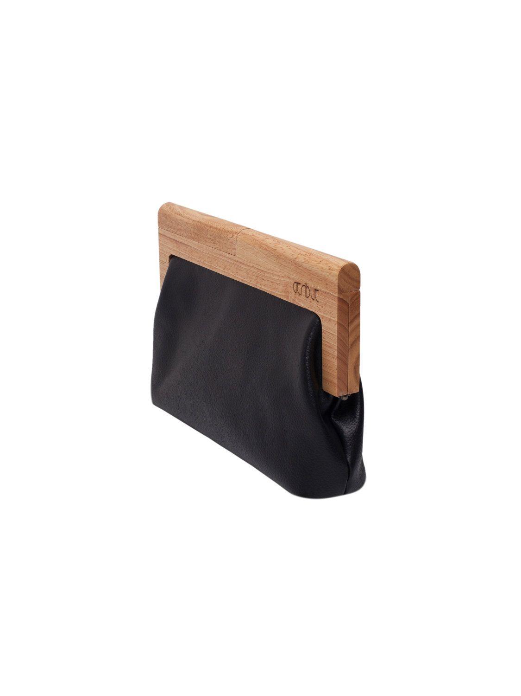 Clutch de cuero negro con marco de madera | Bolsas | Pinterest ...