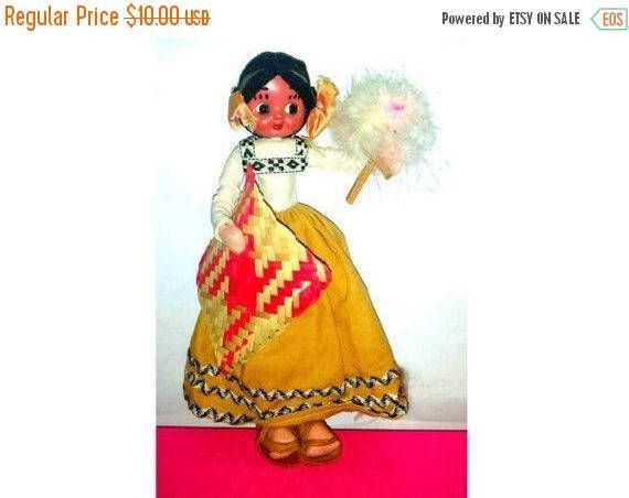 Vintage Mexican Senorita Doll,Mexican Doll,Spanish Doll,Vintage Doll,Dolls in Sandals,Paper Mache Dolls,International Doll, Souvenir Doll #spanishdolls