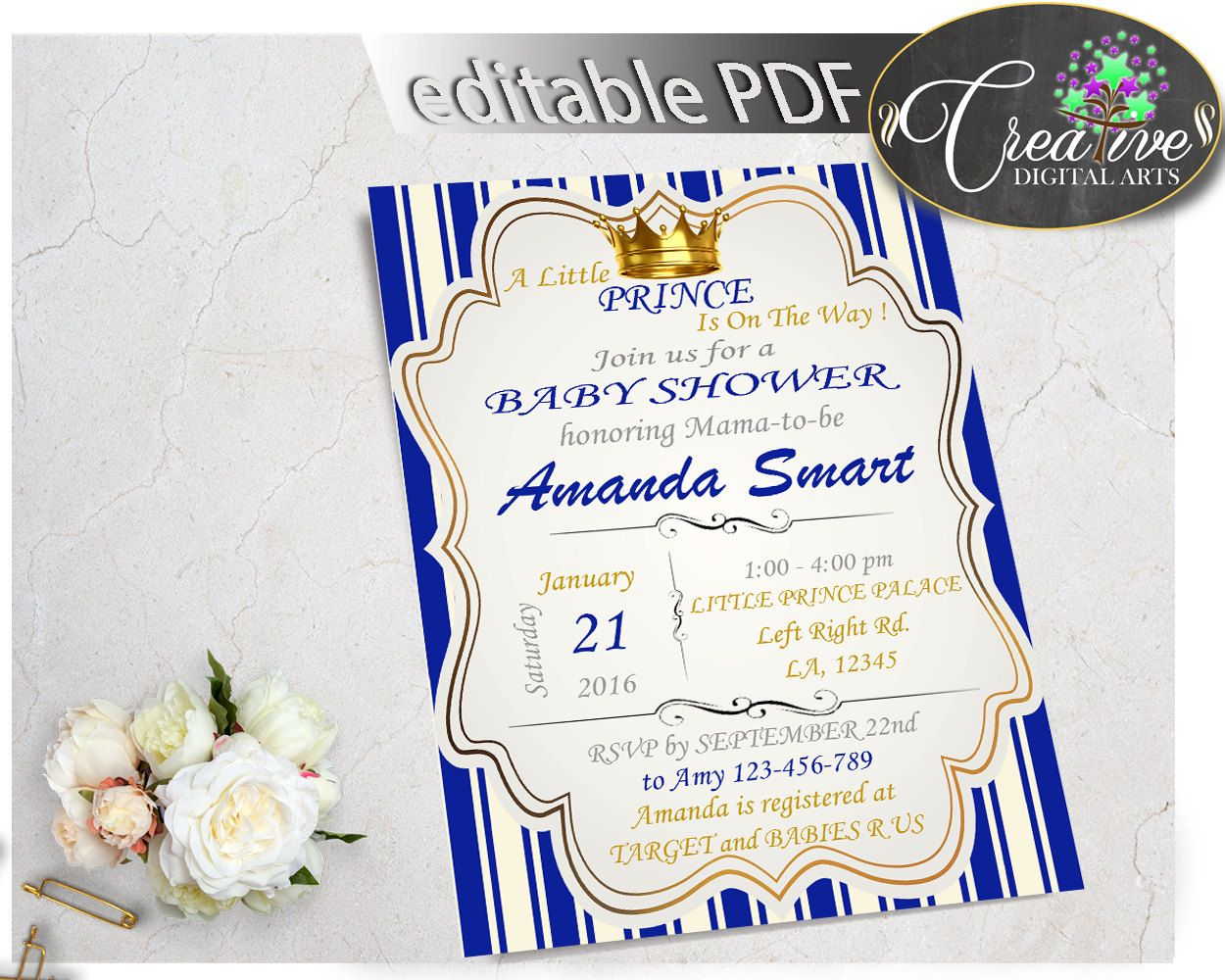 Royal Baby Shower INVITATION editable with royal blue and gold crown ...