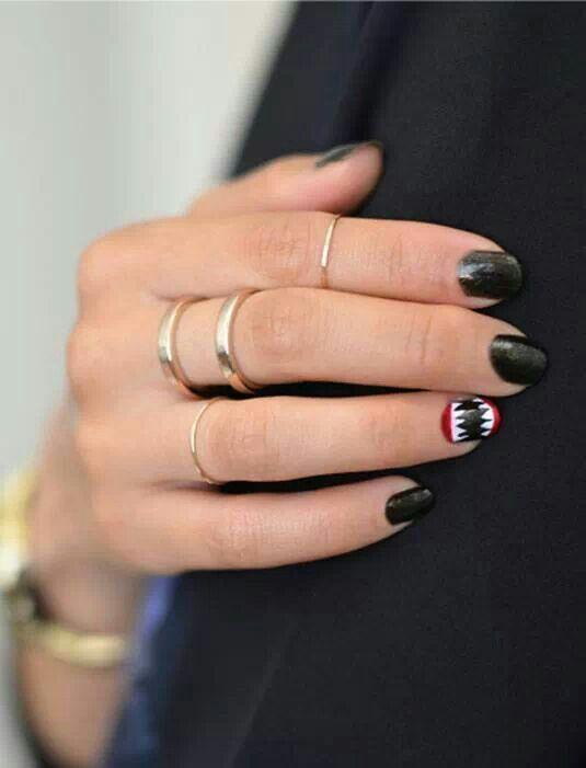 Shark Nails Nails Pinterest Nail Arts Nails And Halloween