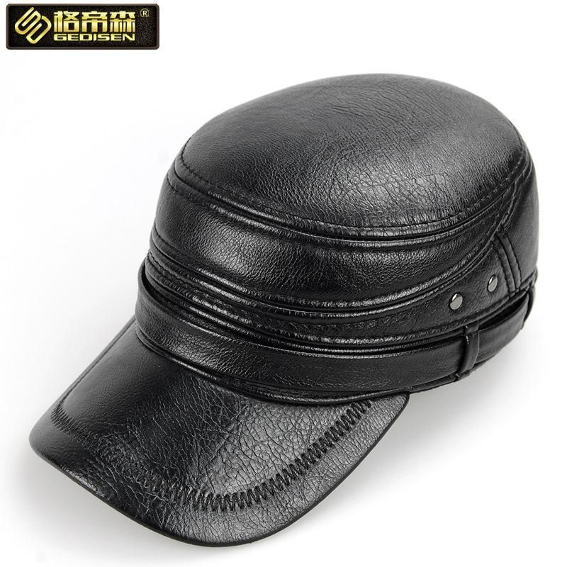 Genuine Cowhide Leather Hats Men/'s Leather Cap Spring Autumn Winter Visor Caps