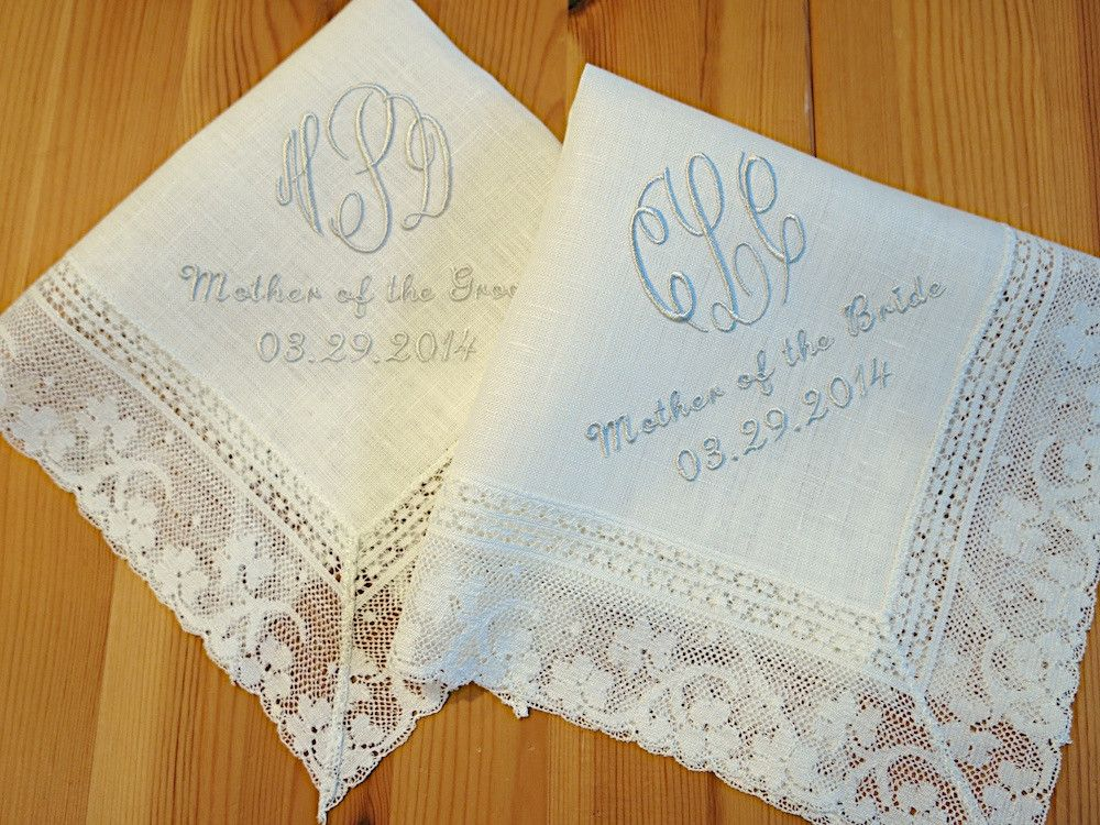 Ivory Color Irish Linen Handkerchief With 3 Initial Monogram Mother Of The Bride Groom And Date