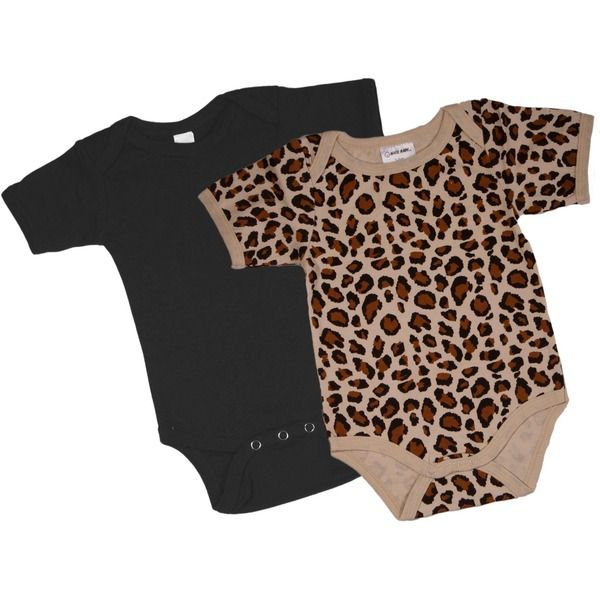 Gift Set - Black & Leopard Onesie Short Sleeve