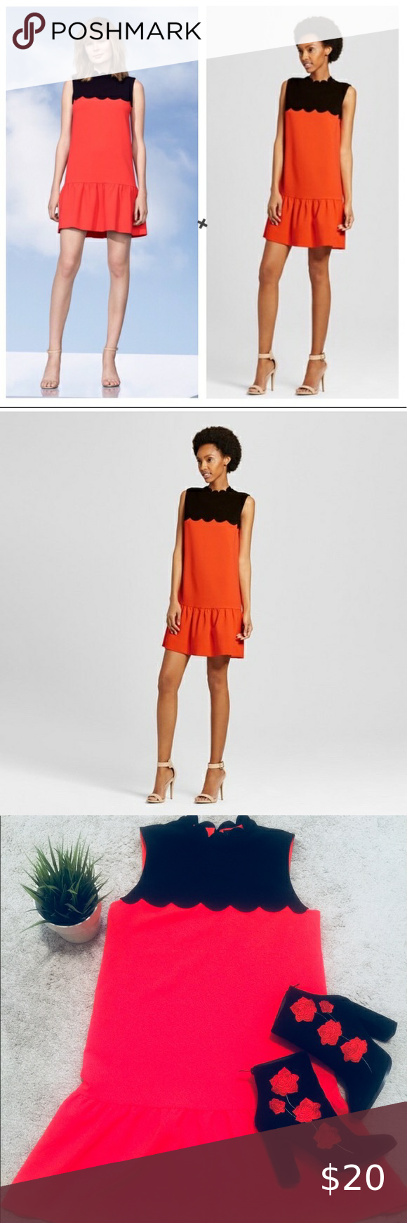 Victoria Beckham For Target Scalloped Red Dress Victoria Beckham Target Red Dress Flounce Hem Dress [ 1740 x 580 Pixel ]