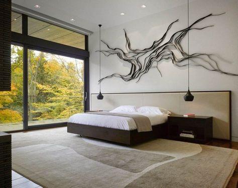 Modernes Schlafzimmer mit kreativer Wanddeko in Schwarz - wanddeko schlafzimmer