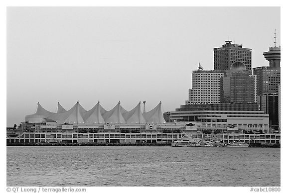 Canada place and skyline at dusk vancouver british columbia canada black and