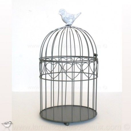 petite cage oiseaux ronde decorative en metal gris patine ancienne surmont d 39 un oiseau en. Black Bedroom Furniture Sets. Home Design Ideas