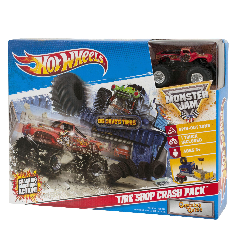 Hot Wheels Monster Jam Tire Shop Crash Pack Captains Cursea Playset Hot Wheels Monster Jam Tyre Shop Hot Wheels