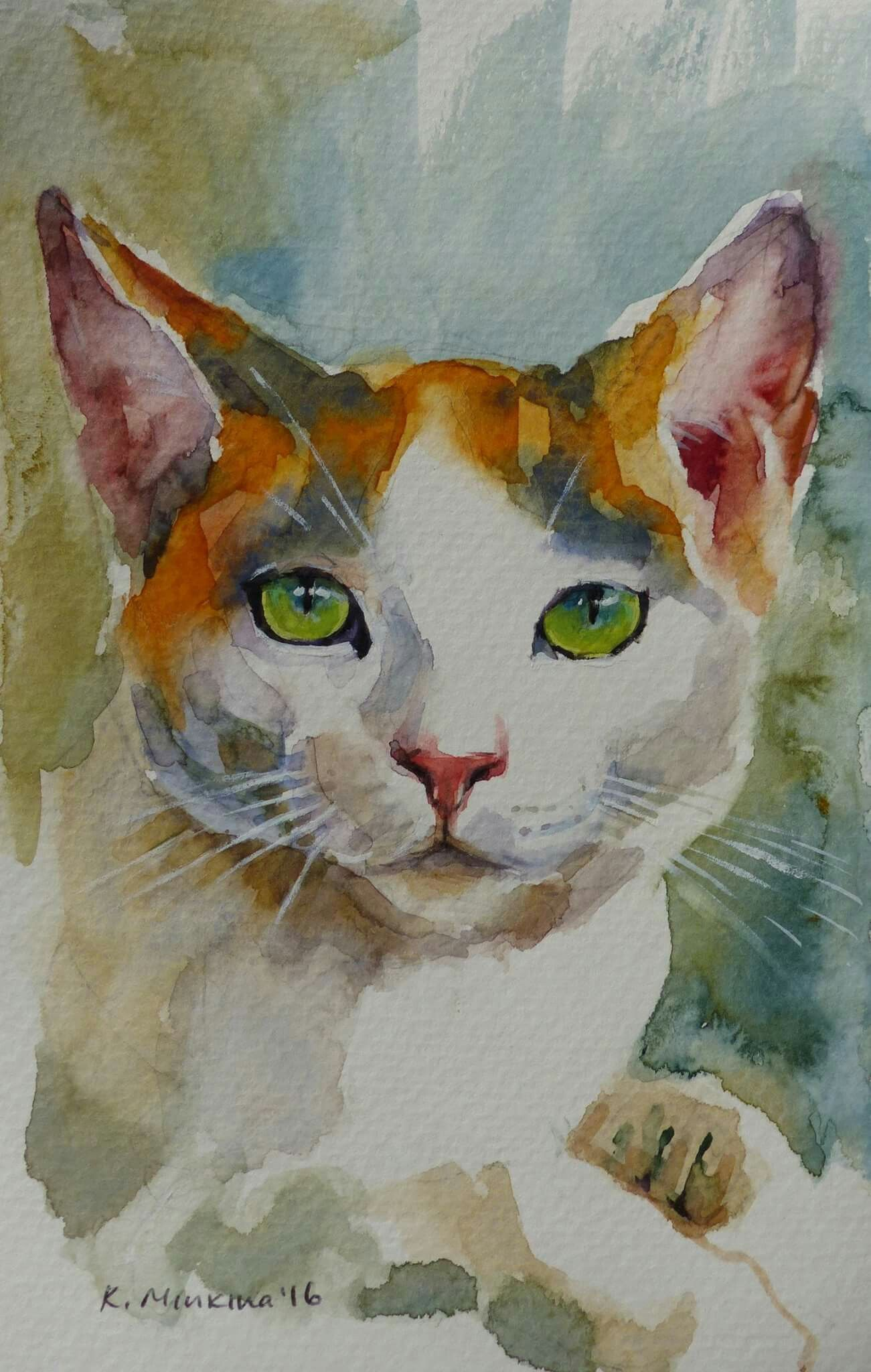 Pin By Nese Caneri On Kedi Watercolor Cat Cat Art Dog Art