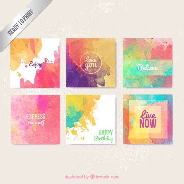 Aquarelle Cartes De Voeux Dans Le Style Colore Cartes De Voeux