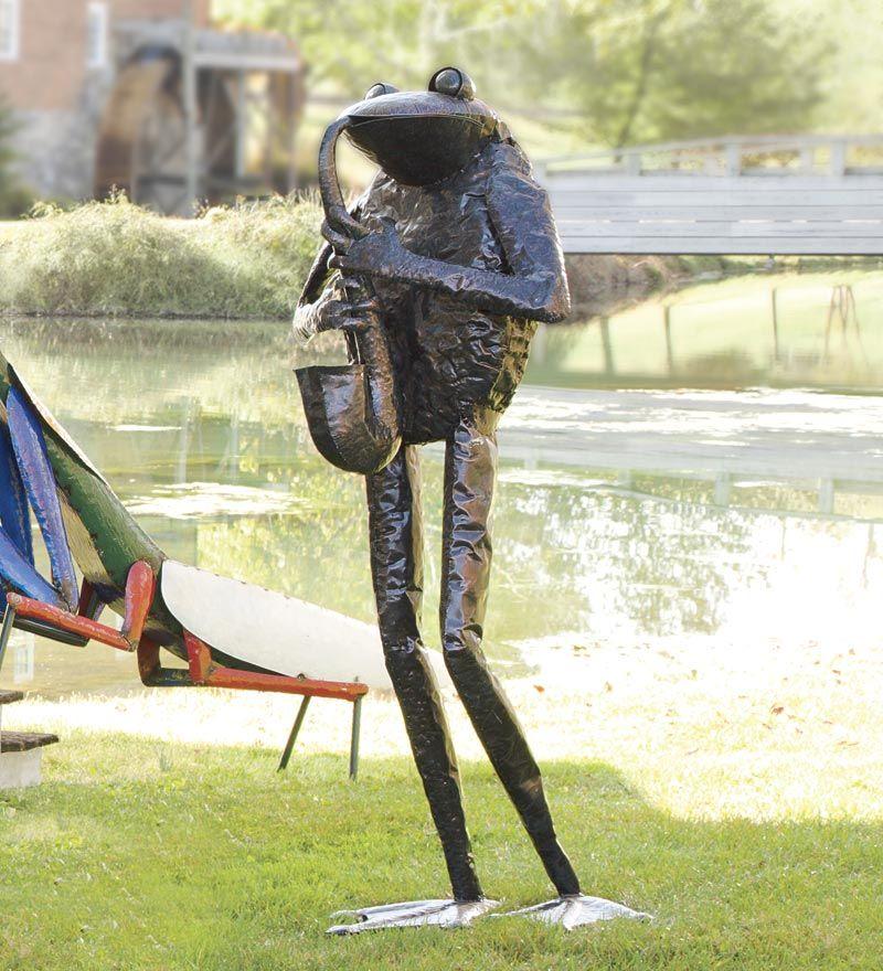 Frog Garden Art Sculpture, Metal Frog Garden Decor
