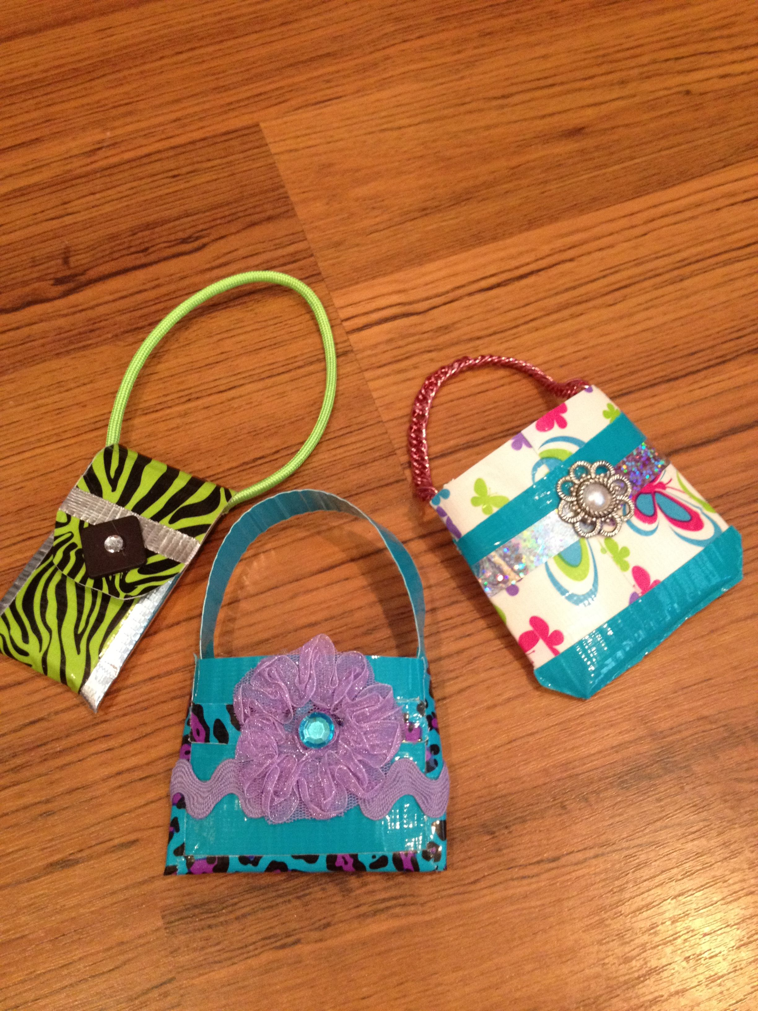 Soooo I made these little duct tape purses for your dolls...so fun and EASY!!!
