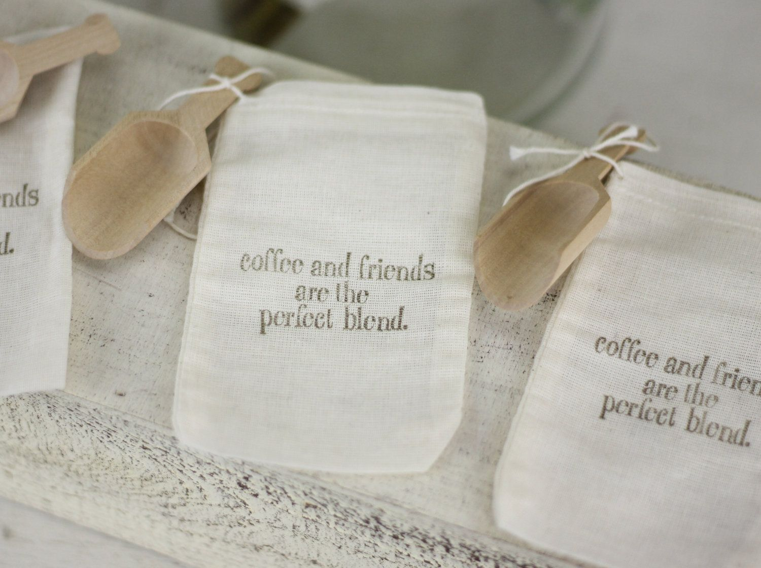 Rustic Wedding Favor Bags Coffee Theme With Wood Scoop SET of 50 ...