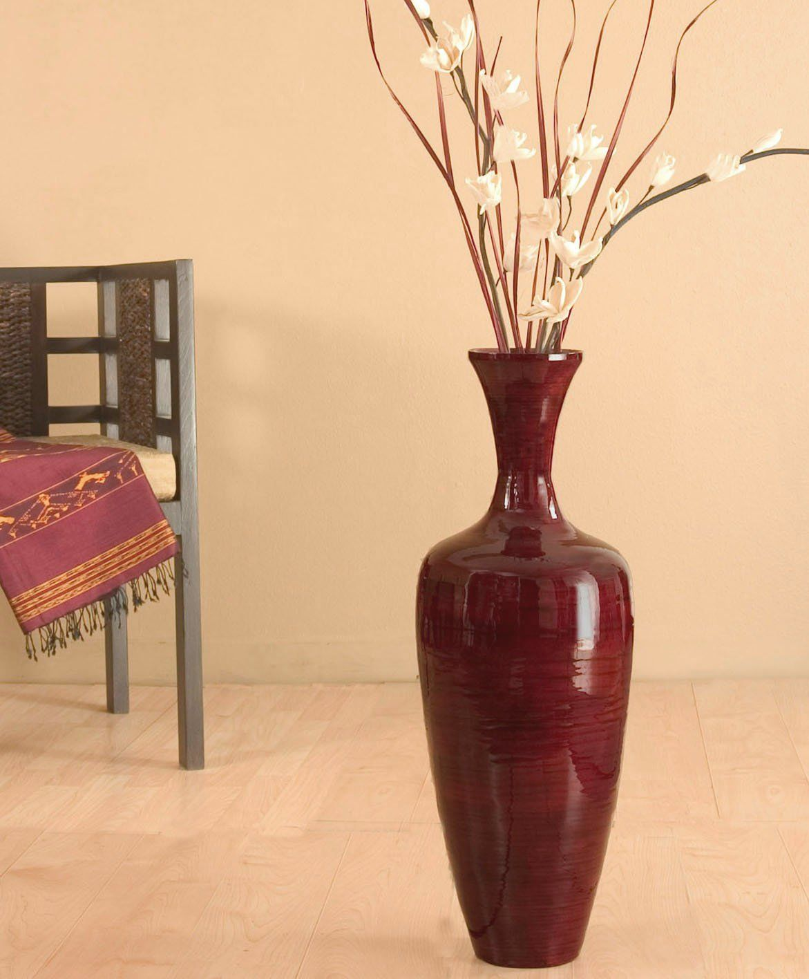 Greenfloralcrafts 27 Inch Slender Red Bamboo Floor Vase And Diy