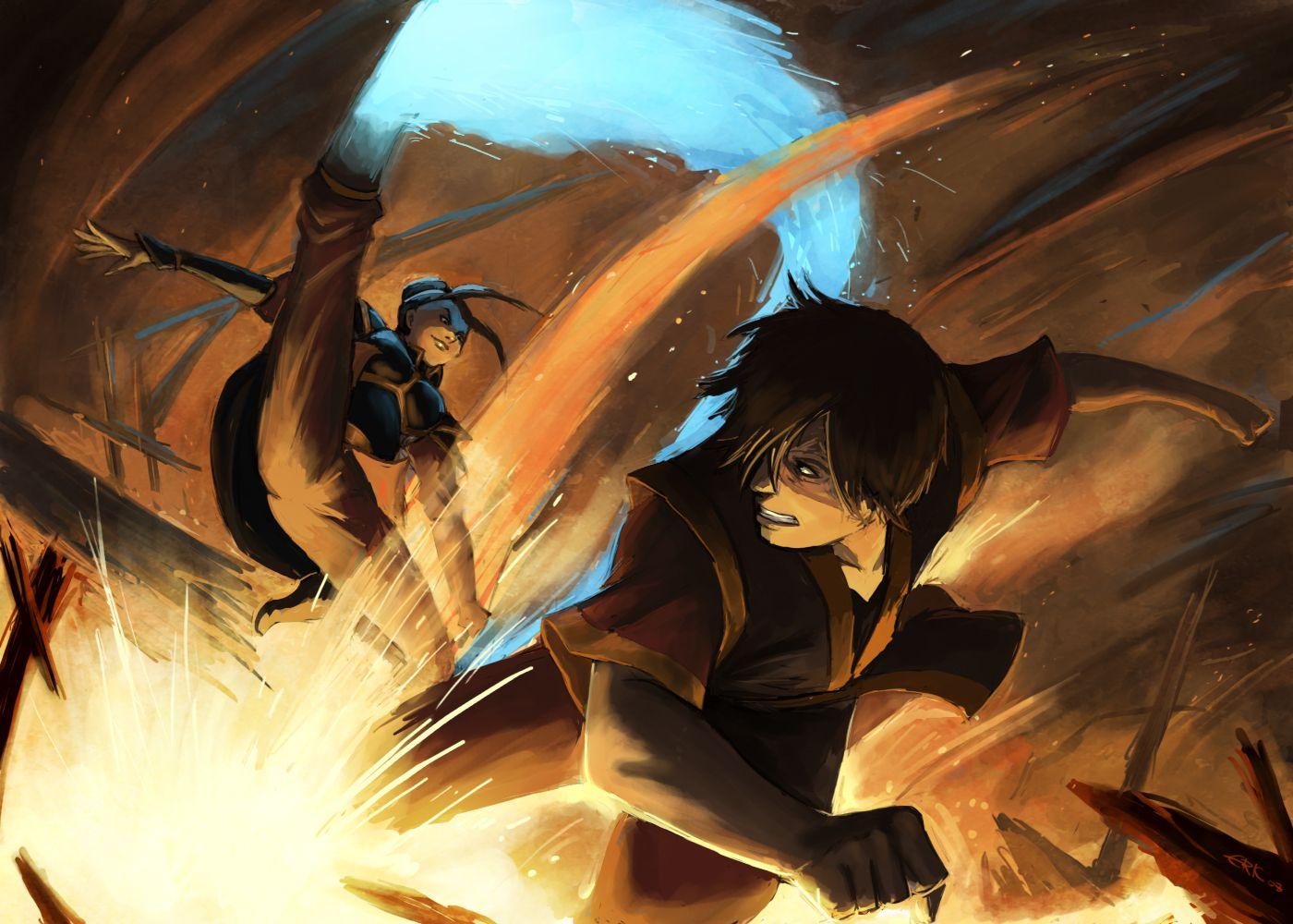 Azula vs. Zuko. Thank the heavens above for ATLA (sans
