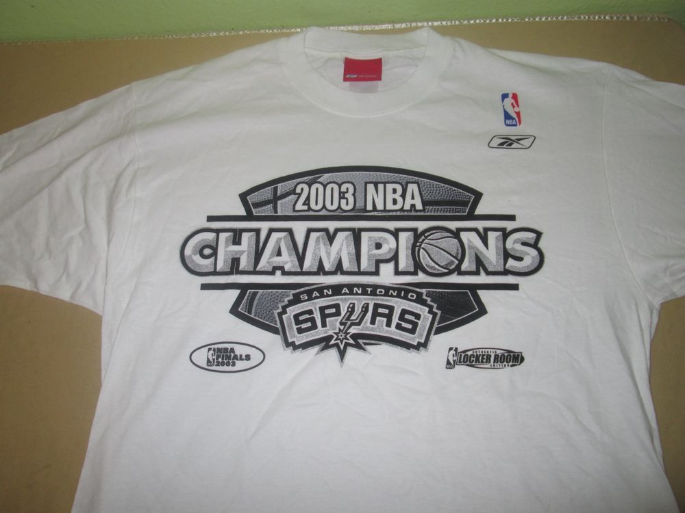 San Antonio Spurs NBA T Shirt M Medium - White - 2003 NBA CHAMPIONS -  Reebok  adidas  SanAntonioSpurs 8ed6faf91