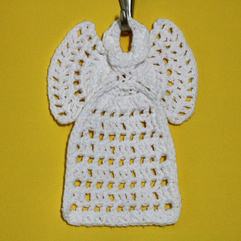 Hand crocheted angel washcloth; kitchen angel; white cotton ...
