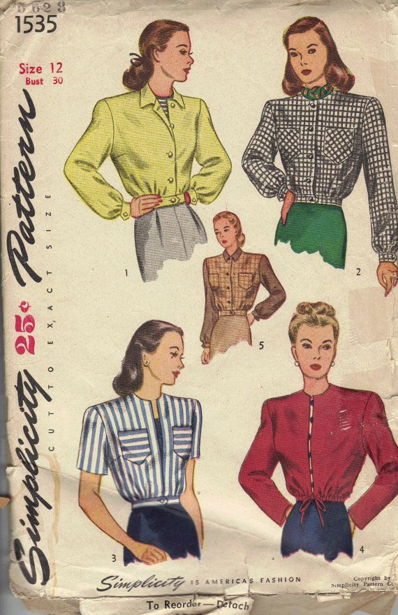 1940 S Vintage Women S Jacket Sewing Pattern By Atomicregeneration 12 42 Jacket Pattern Sewing Short Jacket Pattern Patterned Bomber Jacket