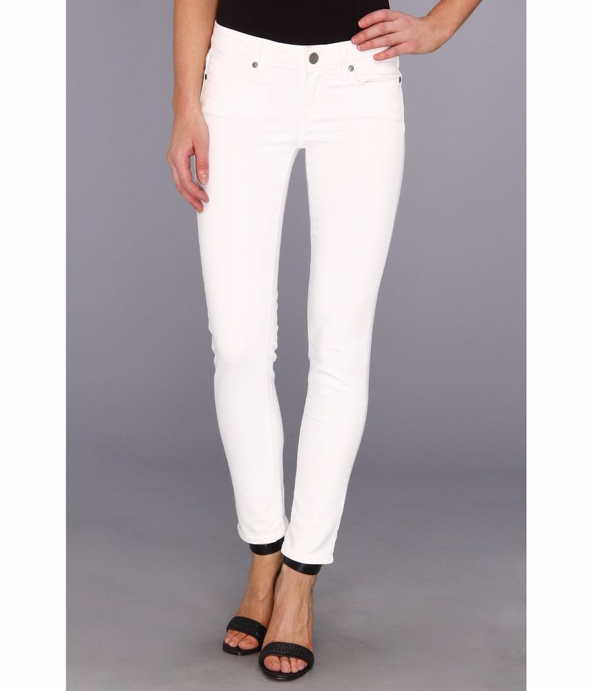 Paige 0661 Womens Skyline White Denim Ankle Low-rise SKINNY Jeans ...