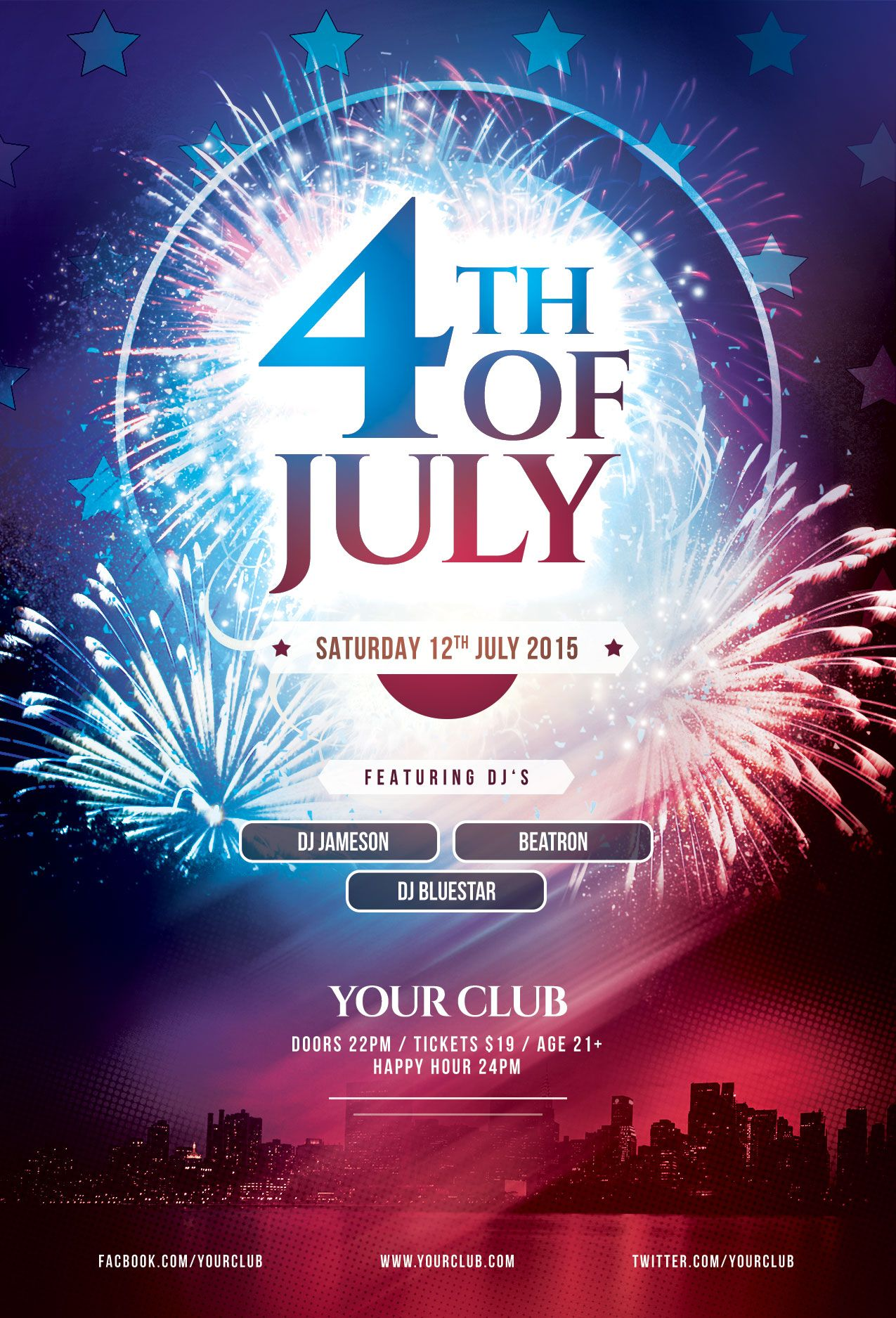 Th Of July Flyer Template Download Psd File    Party Poster