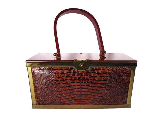 Vintage Etra Embossed Leather Snake Skin with Lucite and Brass Box Bag