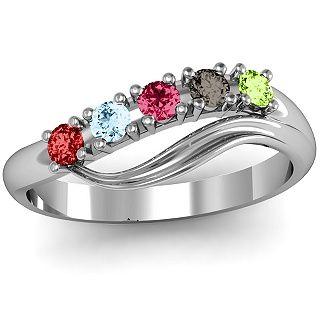 Five Stone Wave Ring | Jewlr