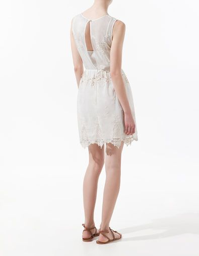 DRESS WITH APPLIQUÉS AND LACE TRIM - Dresses - Woman - ZARA United States