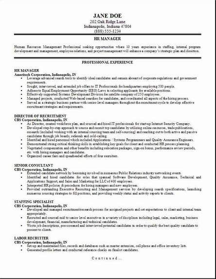 Hr Management Resume Occupational Examples Samples Free Edit
