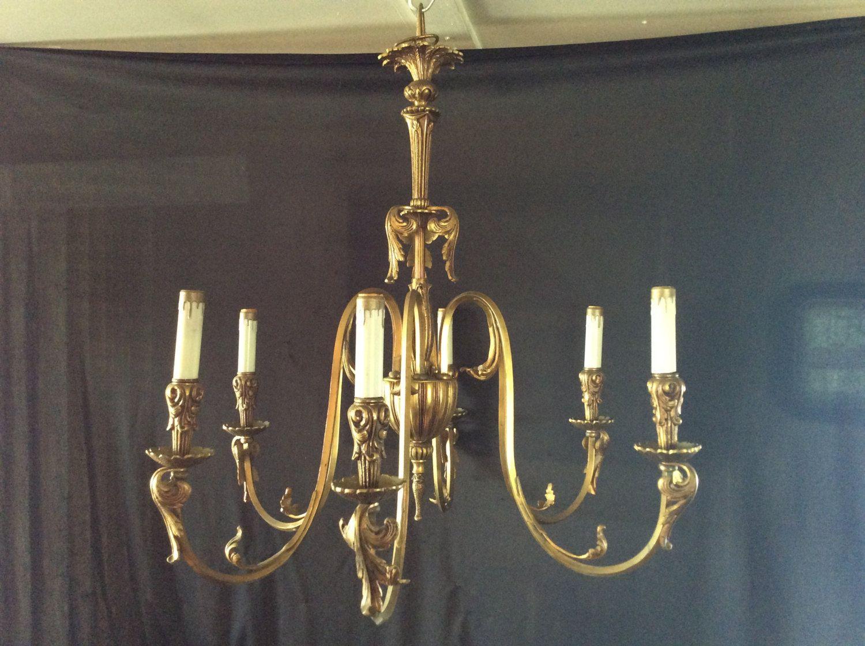 Vintage large antique brass 6 arm chandelier original patina spain vintage large antique brass 6 arm chandelier original patina spain rewired 1930s arubaitofo Image collections