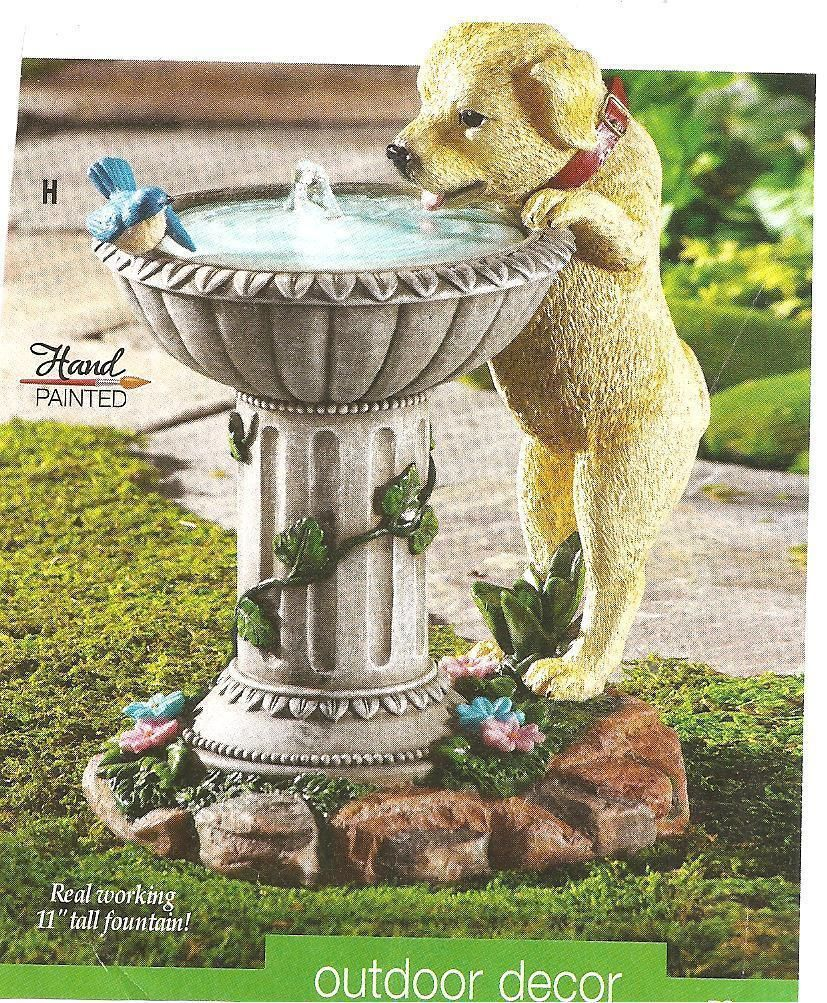 Labrador Puppy Fountain Bird Bath Garden Garden Water Fountains