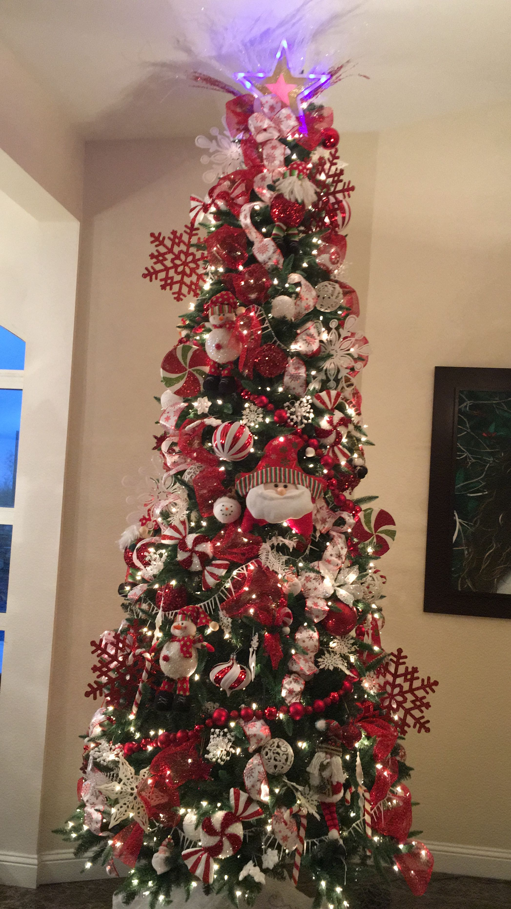 Peppermint Tree red and White by Dary Resendiz Christmas