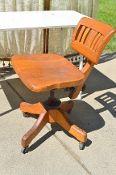 1950's Vintage Solid Oak Bankers Industrial Swivel Chair