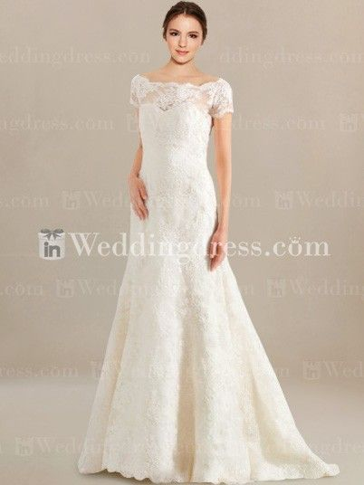 Short Sleeve Lace Vintage Wedding Dress VT001