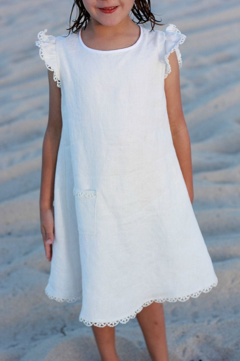 A White Linen Smock From Sewing For Your Girls Japanese Pattern Book In English White Linen Dresses Cute Dresses Linen Dress Pattern [ 1200 x 800 Pixel ]
