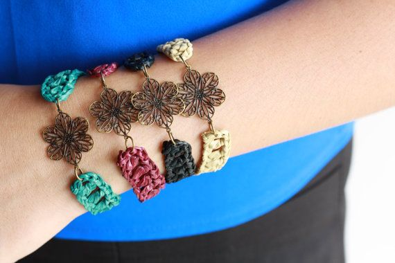 Antique Flower Brass Bracelet