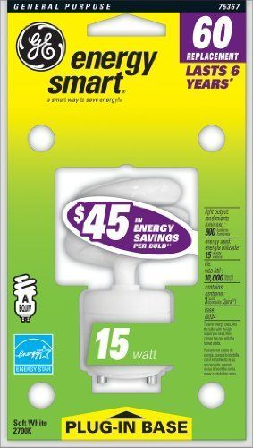 GE Lighting 75367 Energy Smart 15-Watt Spiral Compact Fluorescent Bulb by GE Lighting. $6.00. From the Manufacturer                GE 75367 Energy Smart 15 Watt Spiral CFL Gu24 Base 60-Watt Replacement 75367 - FLE15HT3/2GU24CD GE Soft White Energy Smart T3 regular, everyday light . Saves energy compared to standard, Wattage: lamps. Lasts 12 times longer than a 60 watt regular soft white Bulb. Lasts up to 6 years! Provides significantly longer life than standard lamp helping to re...