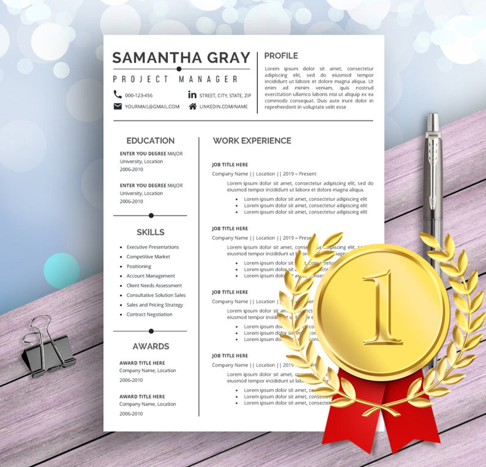 Project manager resume template for word professional