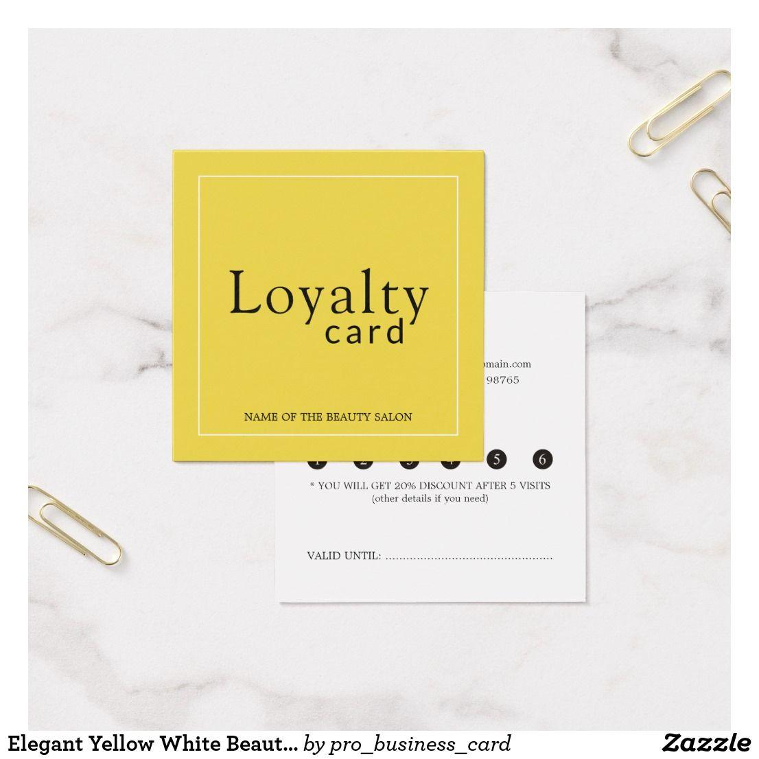 Elegant Yellow White Beauty Salon Loyalty Card  Zazzle.com