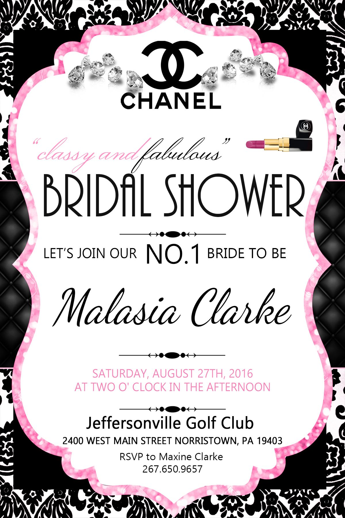 Chanel Inspired Bridal Shower Invitation Pink Black White Chanel